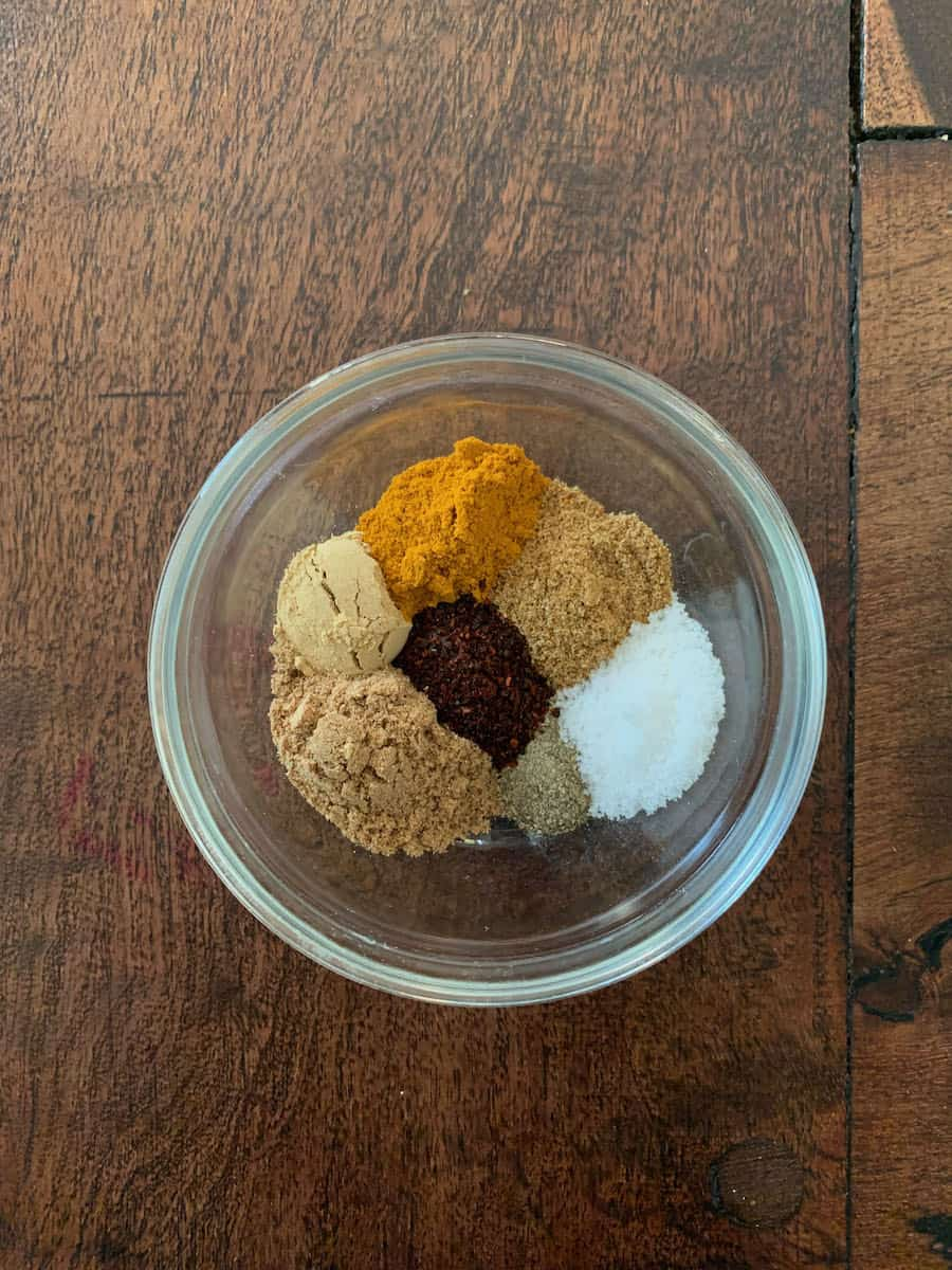 spices for curried chicken in a bowl