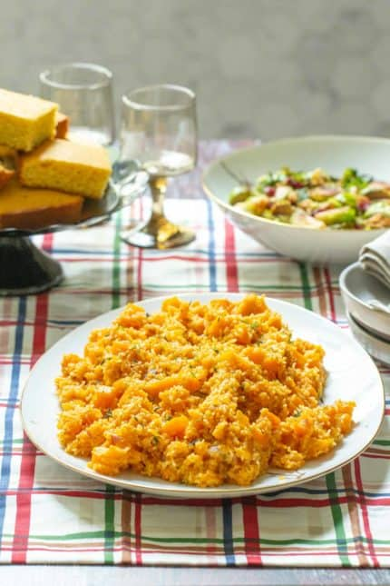 butternut squash pilaf on holiday table